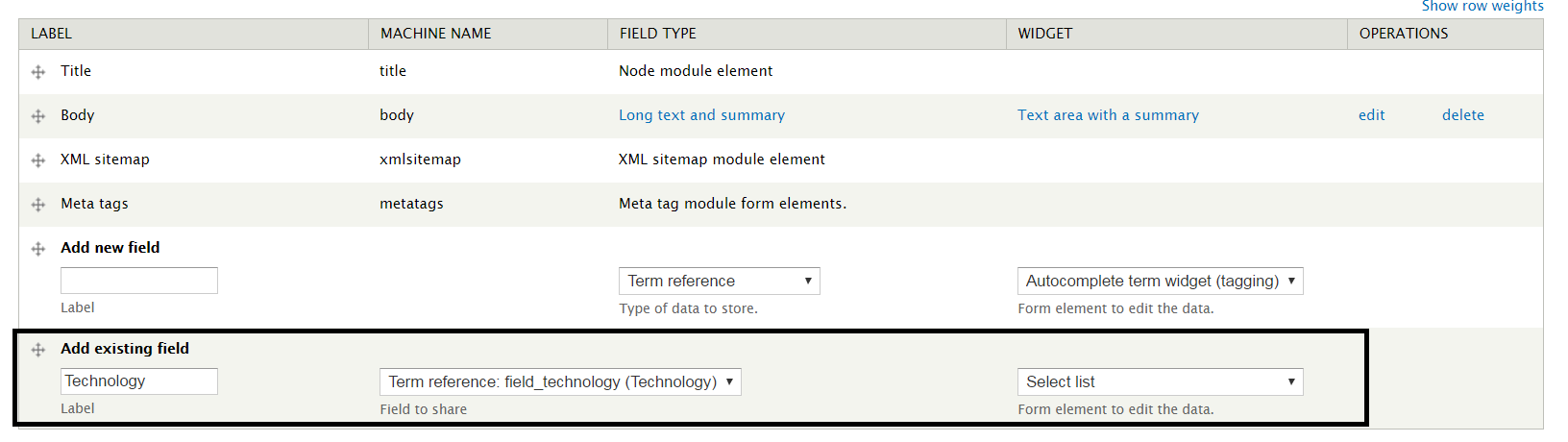 Content Type Existing Field Add